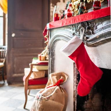 Chaussette du père noël en velours rouge et coton blanc 29 x 48 cm-1