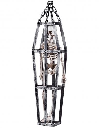 Décoration à suspendre squelette en cage 50 cm