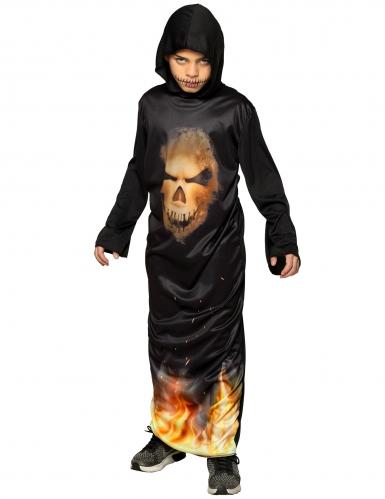 Déguisement tunique avec capuche tête de mort enflammé enfant