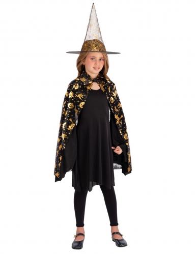 Set sorcière chapeau et cape noir et doré fille