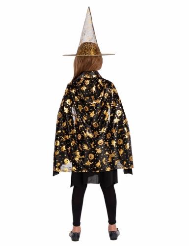 Set sorcière chapeau et cape noir et doré fille-1