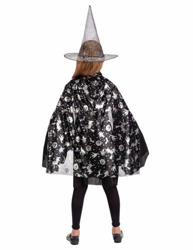 Set sorcière chapeau et cape noir et argent fille-1
