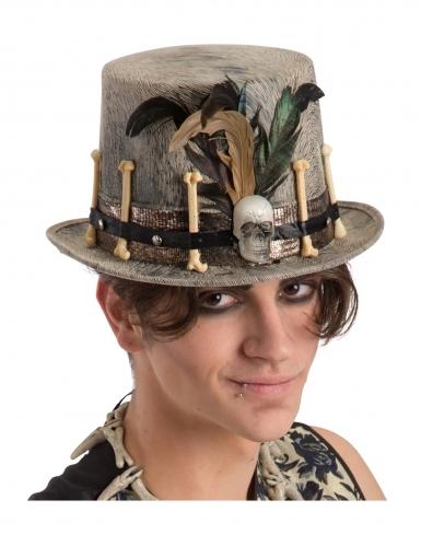Chapeau haut de forme en velours clair vaudou