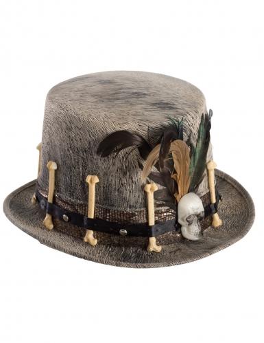Chapeau haut de forme en velours clair vaudou-1