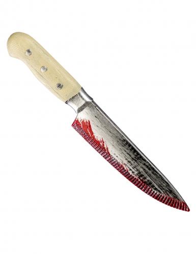 Couteau ensanglanté manche clair 33 cm