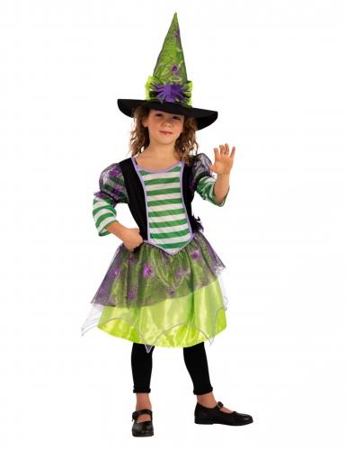Déguisement sorcière araignée avec chapeau verte fille