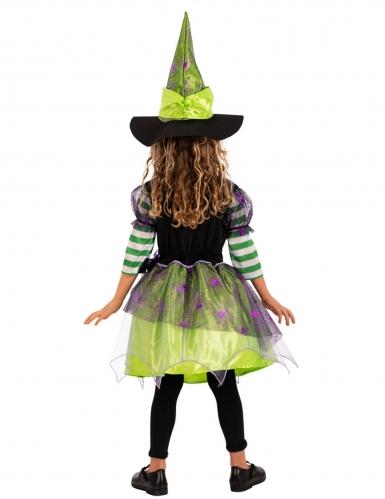Déguisement sorcière araignée avec chapeau verte fille-1
