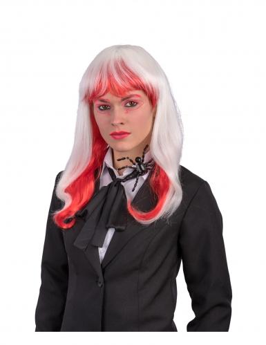Perruque longue blanche et rouge phosphorescente adulte-3