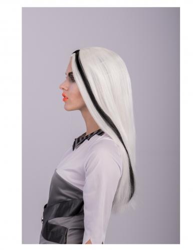 Perruque longue blanche et noire phosphorescente adulte-2