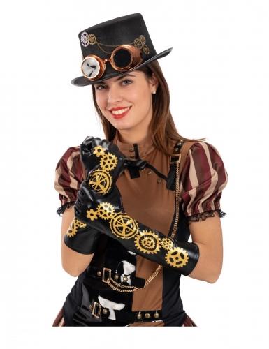 Gants noirs steampunk engrenages 56 cm adulte
