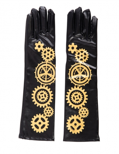 Gants noirs steampunk engrenages 56 cm adulte-1