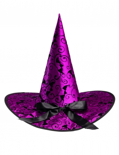 Chapeau sorcière violet chauve-souris 36 cm-1