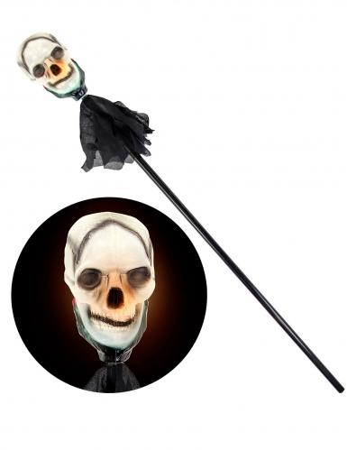 Canne tête de mort lumineuse 120 cm