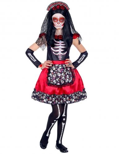 Déguisement Dia de los Muertos noir et rouge enfant-1
