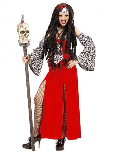 Déguisement prêtresse vaudou rouge femme