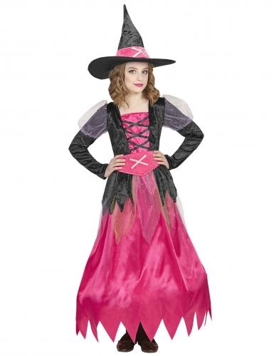 Déguisement jolie sorcière rose enfant-1