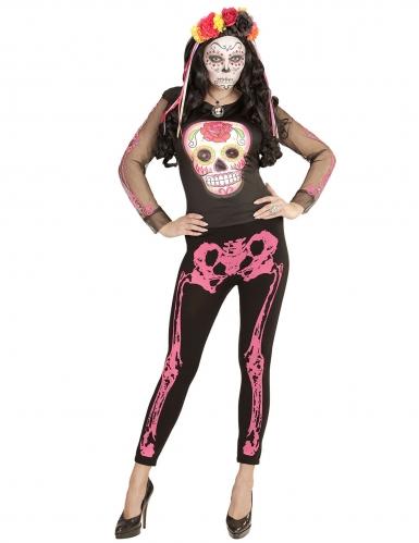 Legging squelette rose fluo femme-1