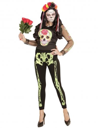 Legging squelette vert fluo femme-1