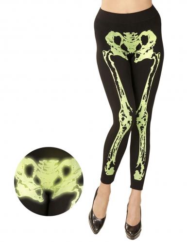 Legging squelette vert fluo femme-2