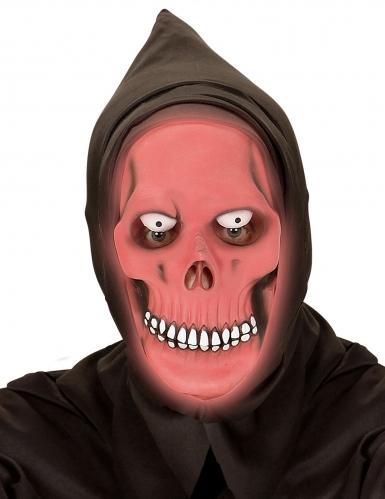 Masque intégral à capuche faucheur phosphorescent rouge adulte