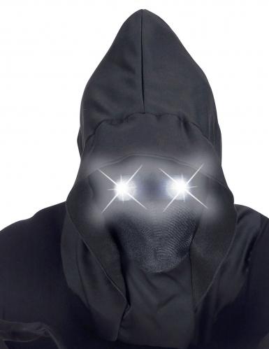 Masque intégral à capuche visage invisible et yeux lumineux blanc adulte