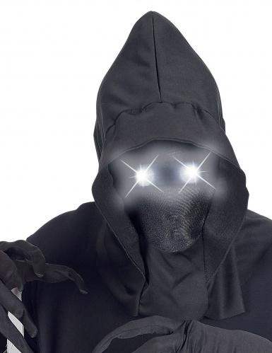 Masque intégral à capuche visage invisible et yeux lumineux blanc adulte-1