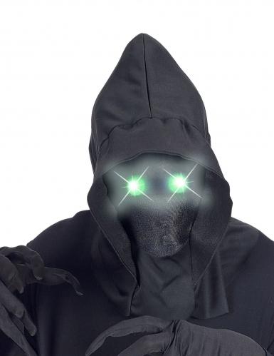 Masque intégral à capuche visage invisible et yeux lumineux vert adulte-1