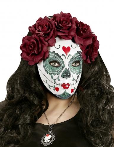 Masque Dia de los muertos roses bordeaux adulte-1