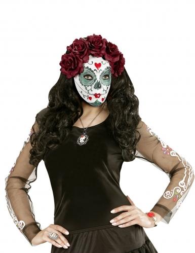 Masque Dia de los muertos roses bordeaux adulte-2