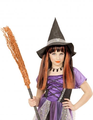 Perruque sorcière mèches oranges fille-1