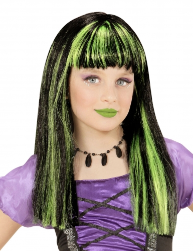 Perruque sorcière mèches vertes fille