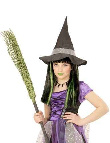 Perruque sorcière mèches vertes fille-1