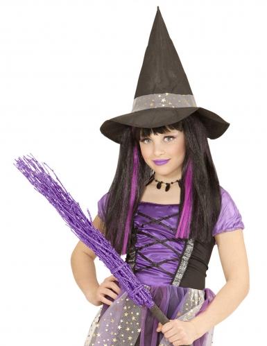 Perruque sorcière mèches violettes fille-1