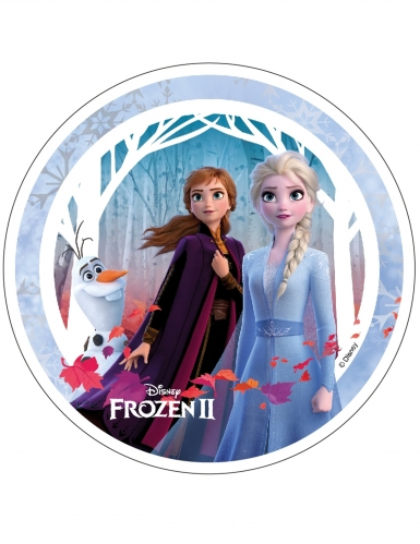 Disque en azyme La Reine des Neiges 2™ Anna, Elsa et Olaf 21 cm