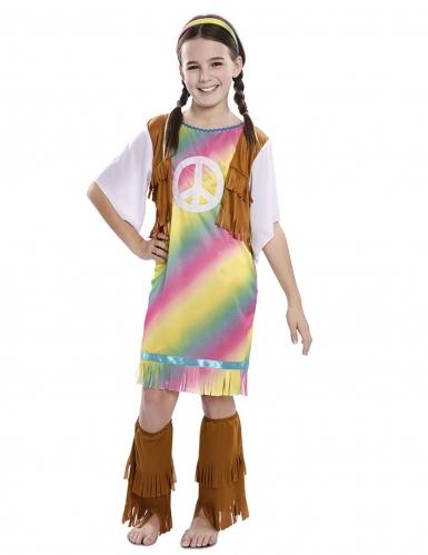 Déguisement robe hippie arc-en-ciel fille