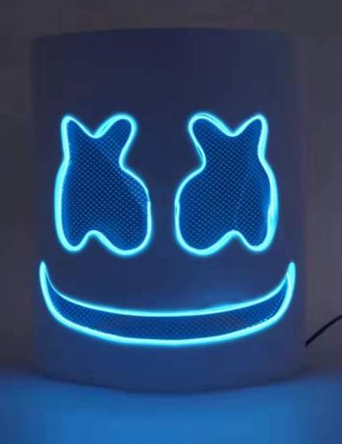 Masque DJ guimauve led bleu adulte