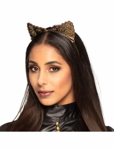 Serre-tête oreilles de chat steampunk adulte-1