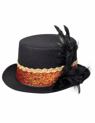 Chapeau haut de forme steampunk plume adulte-1