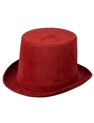 Chapeau haut de forme steampunk bordeaux luxe adulte-1