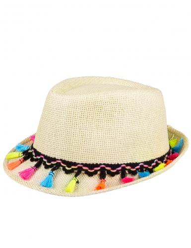 Chapeau borsalino avec pompons multicolores adulte-1
