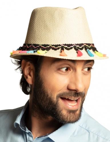 Chapeau borsalino avec pompons multicolores adulte-2