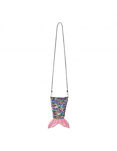 Sac queue de sirène avec zip paillettes arc-en-ciel et argent réversibles adulte-1