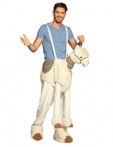 Déguisement homme à dos de lama blanc adulte-3