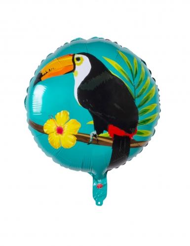 Ballon aluminium toucan bleu et fuschia 45 cm-1
