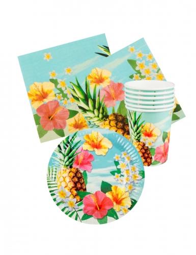 Kit vaisselle jetable tropical paradise 24 pièces