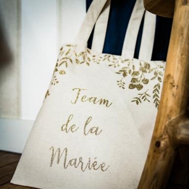 Tote bag en lin team de la mariée paillettes champagne 35,5 x 31 cm-1