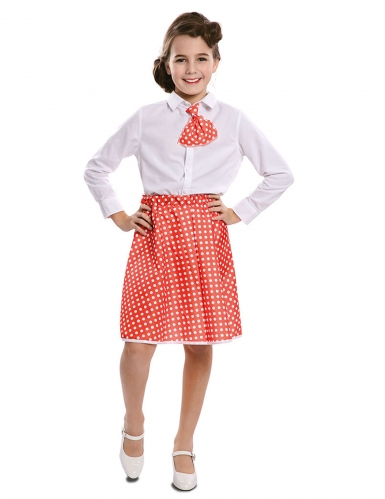 Jupe avec cravate pin-up rouge fille
