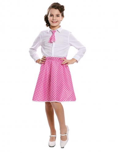 Jupe avec cravate pin-up rose fille