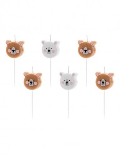 6 Bougies d'anniversaire petits ours bruns et blancs 3 cm
