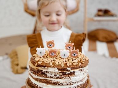 6 Bougies d'anniversaire petits ours bruns et blancs 3 cm-1